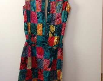 Quilt Patterned Vintage Dress