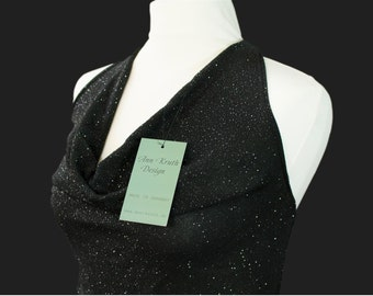 Elegant neckholder sparkling top cowl neckline made of italian jersey Size 12 (US) disco, party