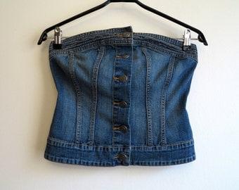 Vintage Denim Corset Top Blue Button Up Jeans Corset Tube Top Bustier Size XS - S