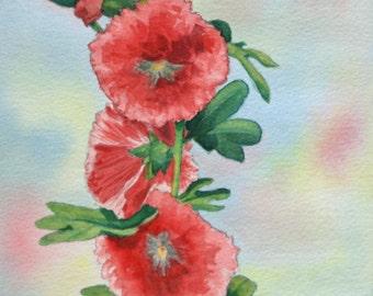 Print of floral Holliehock, watercolor