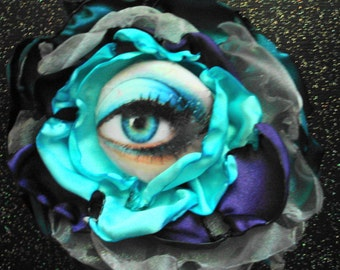 Magnetic Brooch with Eye Center Teal Blue and Purple - I've got my eye on you!