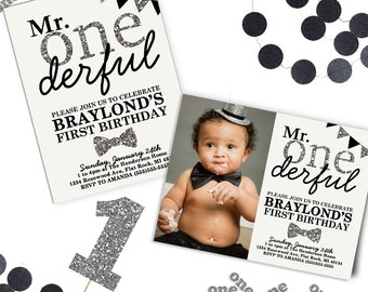 Mr Onederful Invitation, Mr Onederful Birthday Theme, 1st Birthday Invitations, First Birthday Invitation, Printable Birthday Invitation