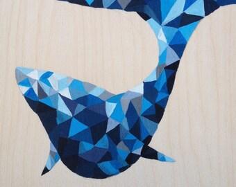 Acrylic painting on birchwood-whale-eastcoast