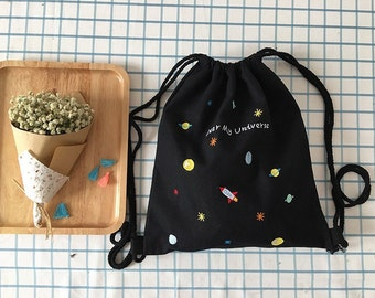 Handmade Black Embroidered planet canvas tote bag backpack