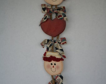 Handmade Raggedy Ann and Andy wall hanging