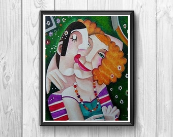 Couple posters amorous effusions, original style, hand-painted