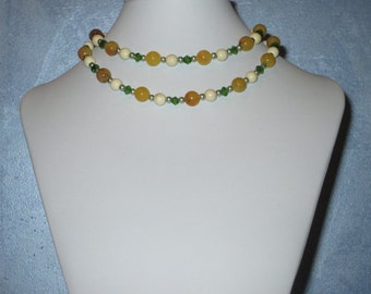 Green, honey and white long necklace
