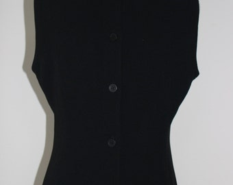 Vintage Yarell Button Back Top from early 90's, Black Top, Cropped Top