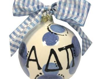 ADPI  Alpha Delta Pi Sorority Hand Painted Ceramic Christmas Ornament.