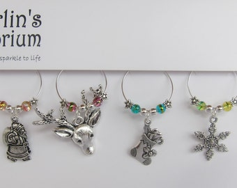 Christmas glimmer drink charm set