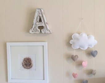 Felt hearts and cloud baby mobile for nursery