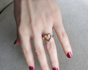Heart Ring, Open Heart Ring, Silver Heart Ring, Valentines Jewelry, Gold Heart Ring