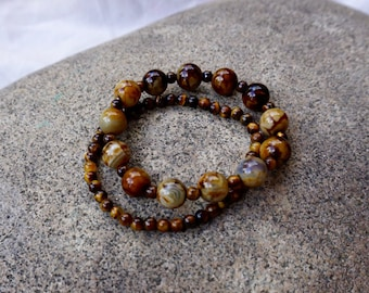 Brown Marbled Glass Beaded Bracelets