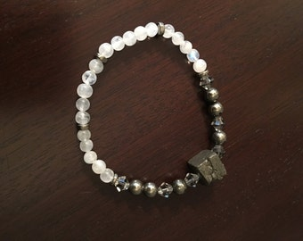 pyrite cube and moonstone bracelet (with swarovski crystals)