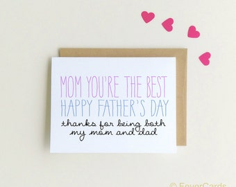 Father's Day Card for Mom|Happy Father's Day Mom Card | Single Mom Card {SKU: FC144}