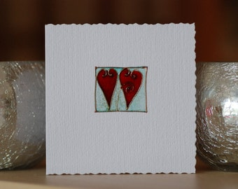 Two Hearts- Handmade card
