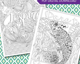 Downloadable Coloring Pages - Words to Color By by Jennifer Lankenau - 2 page sampler!