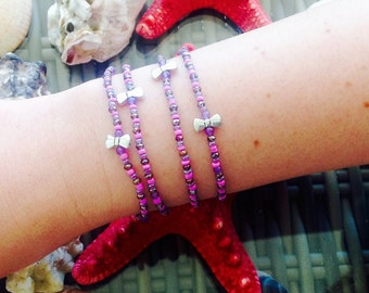 Duo purple and pink bracelets with links