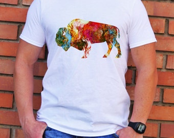 Bison Tee - Art T-shirt - Fashion T-shirt - White shirt - Printed shirt - Men's T-shirt - Gift