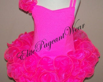 National Pageant Dress Shell sizes 6mos to 5/6 Girls Neon Pink