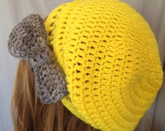 Slouchy Beanie, bow, yellow, gray