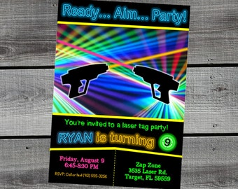 Laser Tag Invitation - Zap Zone - Laser Quest - Birthday Party Invitation