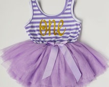 First Birthday Outfit,  Dress  Smash Photo  Purple Tutu  Glitter  Toddler 1st