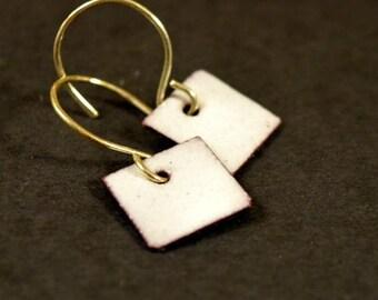 Color Pop Enamel Earrings- White