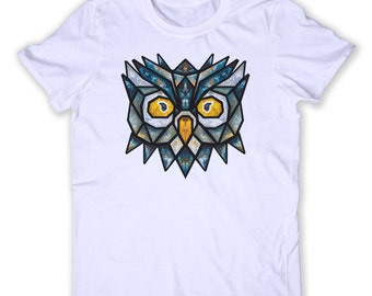 Geometric Owl Face Tee Hipster Galaxy Colorful  Animal Lover Graphic T-shirt
