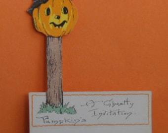 Vintage Halloween Place Card, Vintage Ephemera, Jack O'Lantern Place Card, Jack O'Lantern Die Cut Place Card, Vintage Halloween Party Decor