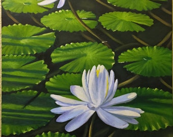 "Oil painting on canvas Flowers - Water Lilies in Pond 22""x 30"""