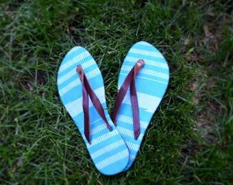 Women's blue flip flop leather sandal, woven sandals, Etornam size 41, womens size 10, handmade sandals, fair trade shoes