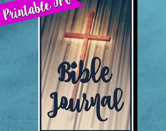 Bible journal label, journaling accessories, printable label, church cross, gift for christians, 5 x 7 label, gifts for her, portrait label
