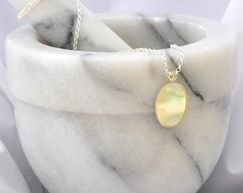 Sterling Silver Necklace- Mother of Pearl Necklace- Mother of Pearl Pendant- Pearl Jewellery- Pearl Jewelry- Birthday Gift- Handmade- N23