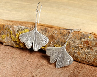 Ginkgo Silver Leaf Earrings, sterling silver, gift for her, bohemian, summer fashion, nature, woman gift, japanese symbol, mother's day gift