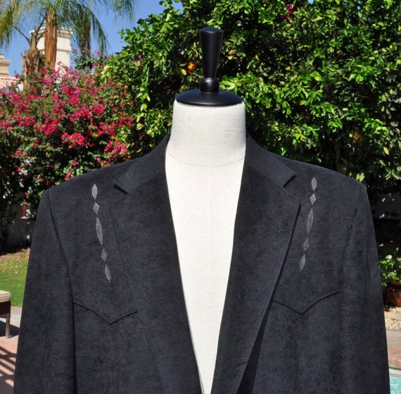 Mens Black Pagano West Made in the USA Western Wear Micro Suede Man in Black Blazer Sz 46R