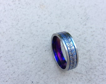 Hand Engraved Titanium Wedding Band