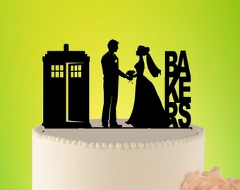 Doctor Who Wedding Cake Topper, TARDIS Wedding Cake Topper, TARDIS Decor, Doctor Who topper, Doctor Who Wedding, wedding topper L2-01-012