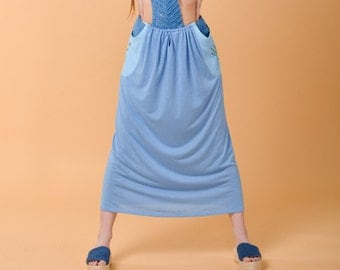 JULIA blue skirt/dress with embroidered pockets