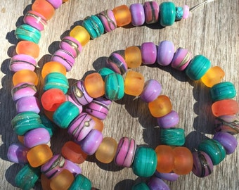Lampwork Glass Beads, Sea Salt Glass Beads, Beach Glass Beads, Handmade Glass Beads, Beach Beads, OOAK Glass Beads, Lampwork Glass Set