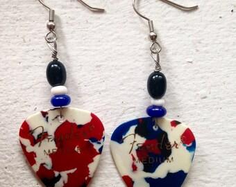 Guitar Pick Earrings Red White & Blue Confetti