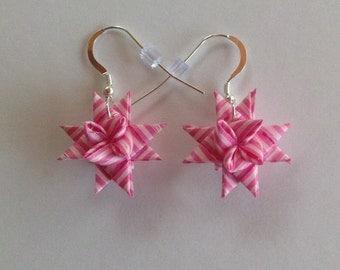 Moravian Star Earrings—Pink/White