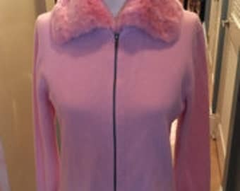 TSE wool zip up pink sweater with sheared mink collar
