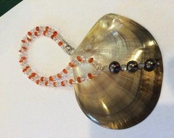 Beautiful Tahitian Black Pearls and gemstones necklace