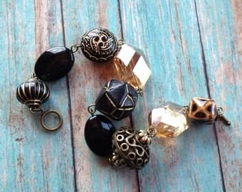 Southwest Boho Beaded Bracelet, Black Beaded Bracelet, Southwest Jewelry, Boho Jewelry, Boho Bracelet, Southwestern Bracelet