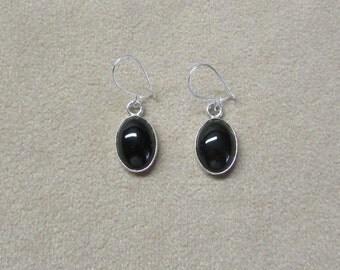 Black Onyx STERLING silver drop earrings.
