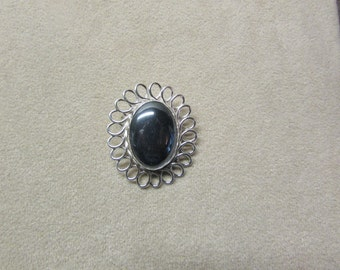 Brilliant Hematite large STERLING SILVER pin/pendant with an elegant loop design