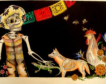 """Day of the Dead Celebration 11"""" x 14"""" High Quality matted and signed print from original pen and watercolor piece"""