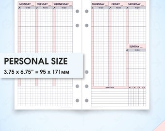 Weekly planner filofax personal size inserts undated printable wo2p.v6 (weekly inserts, weekly schedule, weekly agenda, hourly planner)