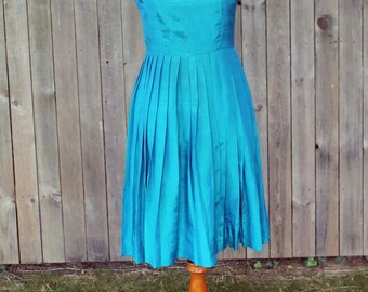 1980s Teal Party Dress